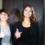 """Rebecca Palaia e Claudia Crastolla, del V classico, vincitrici di uno dei concorsi filosofici di """"Anima la filosofia"""" per il miglior dialogo filosofico."""