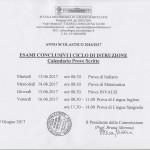 Calendario prove scritte