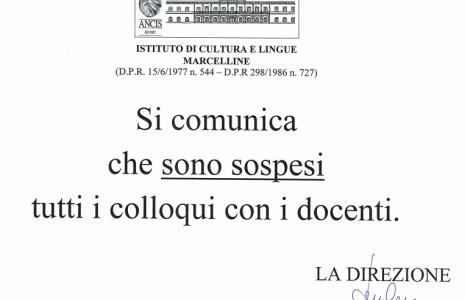 Avviso Sospensione Colloqui (PDF)