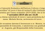 """La Comunità Scolastica dell'Istituto Cultura e Lingue """"Marcelline"""" di Lecce è lieta di invitarVi alla Celebrazione Eucaristica per l'anno scolastico 2019-2020, che si terrà il7 novembre 2019 alle ore 10,30nella […]"""