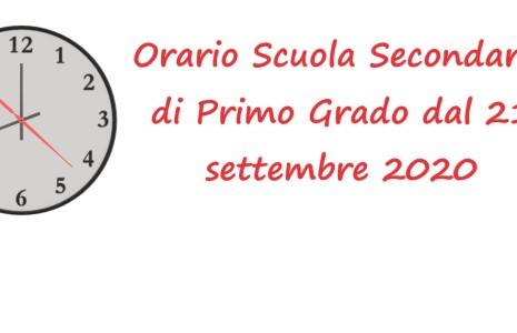 ApriOrario scuola secondaria di primo grado dal 21 settembreper visualizzare l'orario.
