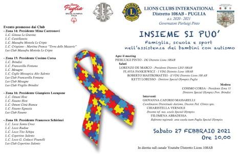 """Il Lions e il Leo club Copertino Salento partecipa al meeting interzona sull'autismo. Le scuole, che hanno aderito all'invito del club sono: l'Istituto Comprensivo """"G.Falcone"""" di Copertino, l'Istituto """"Marcelline"""" di […]"""